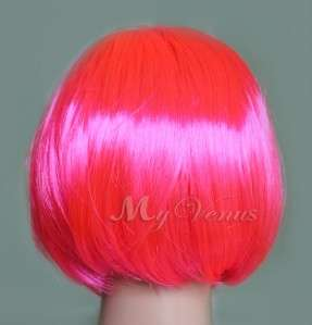 Short Straight Bob Style Wig Hot Pink Cosplay Party Synthetic Hair
