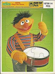 Sesame Street Ernie Play Music Golden Frame Tray Puzzle