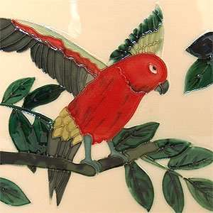 Sun Conure Bird Decorative Ceramic Wall Art Tile 6x6: Home