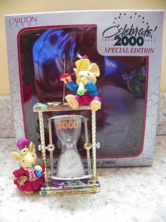 Carlton Cards Heirloom Just in Time for 2000 Mice Hourglass Christmas