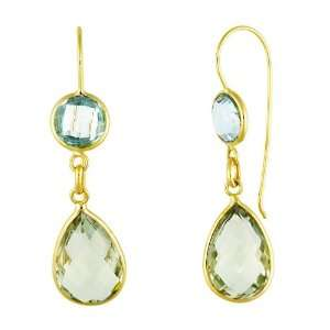 Gold Earrings Green Amethyst and B.t Blue Topaz   JewelryWeb Jewelry