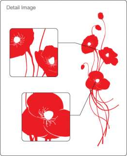 POPPY FLOWERS   Vinyl Wall Art Decals Stickers Large