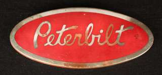 TRACTOR TRAILER SIGN BIG OLD TRUCK LG EMBLEM RED ENAMEL CHROME