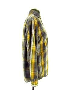 vintage 50s mens yellow plaid BIG MAC sanforized flannel work shirt sz