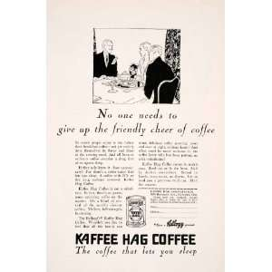 1929 Ad Kelloggs Kaffee Hag Coffee Caffeine Dinner Drink