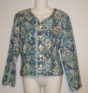 Bean Aqua Teal Geometric Print Long Sleeve Jacket Blouse Top 8