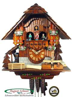 Cuckoo Clock Black Forest Saw Mill, Music 13in NEW