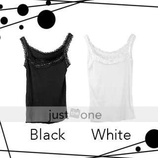 Fashion Women Sweet Lace Tank Vest Cami Top White/BLK