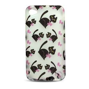with Black Kitty Cat and Pink Bow Soft Silicone Skin Gel Cover Case
