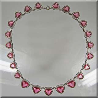 Vintage Silver Tone and Pink Rhinestone Necklace ~  ~