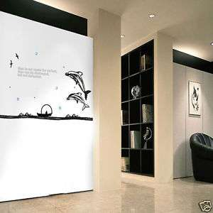 DOLPHIN & SEA & LETTERINGS WALL DECAL STICKER REMOVABLE