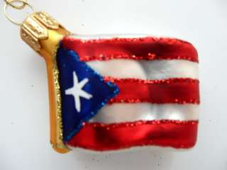 PUERTO RICO FLAG EUROPEAN BLOWN GLASS CHRISTMAS TREE ORNAMENT
