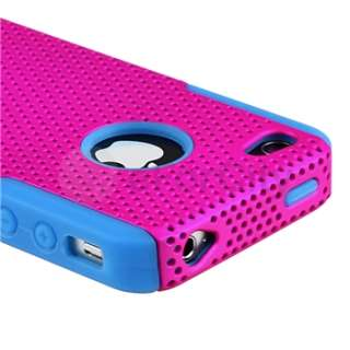 Blue Pink Mesh Hard Case Cover+Front Back Screen Film Protector For