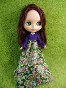 Blythe Doll Outfit Clothing Handmade Basaak purple Set 2 pcs dress