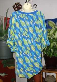 BOB MACKIE Wearable Art Beautiful Blues & Chartreuse Silk Tunic Top L