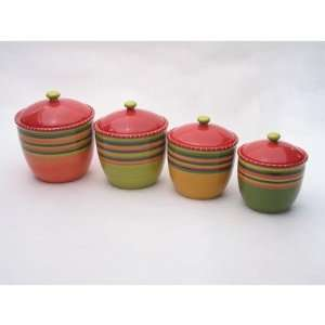 Certified International 14270 Hot Tamale Set of 4 Canisters with Lids