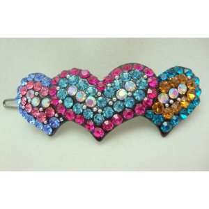 NEW Crystal Hearts Hair Barrette, Limited. Beauty