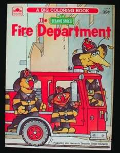 SESAME STREET FIRE DEPARTMENT COLORING BOOK 1984 UNUSED