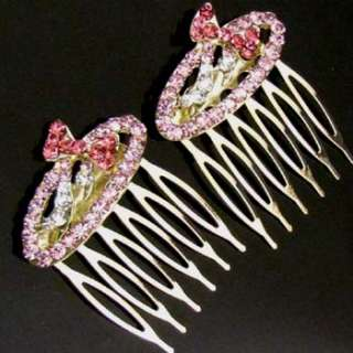 SHIPPING 2 pc Austrian hinestone crystal bow tie hair comb pin