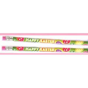 24 HAPPY EASTER Pencils/EGG/Party Favor/BASKET FILLER/Two Dozen WOODEN