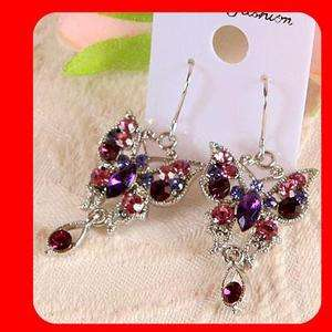 BUTTERFLY PURPLE SWAROVSKI CRYSTAL HOOP EARRINGS ER305