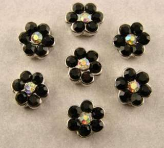 Hole Beads #7 Daisy Flowers Made w/ Jet Black & AB Swarovski Crystal