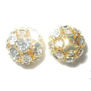 4pcs 16mm Swarovski Rhinestone Balls Beads Gold / Crystal