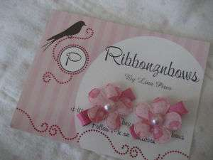 Ser of 2 Breast Cancer Hair Clips Snap Clip infant/girl