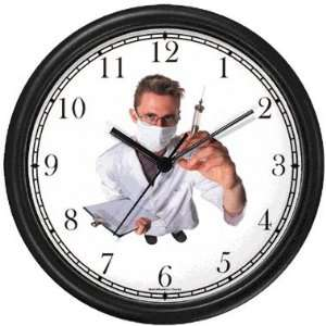 Medical Doctor, Physician wih Hypodermic Needle Wall Clock