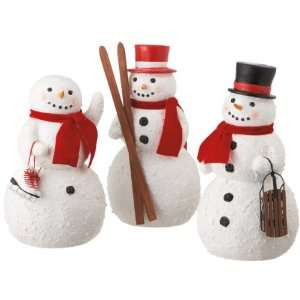 SET OF 3 LARGE RECREATIONAL SNOWMAN TABLE TOP FIGURINES 12