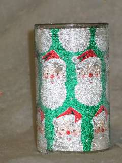 Vintage Christmas Sugar Coated Glass Santa Glow Candle 5 T1