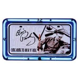 Elvis Home to Rock n Roll Neon Clock SS 08614 Home