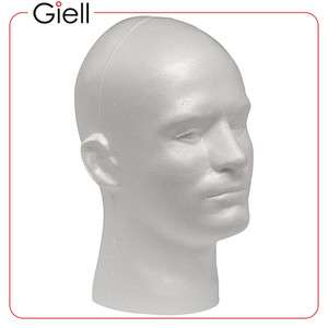 Giell Styrofoam Male Mannequin Wig Head Display Caps Hats Glasses