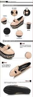 Womens Shiny Patent Bowtie Punk Goth High Platform Flat Creeper Shoes