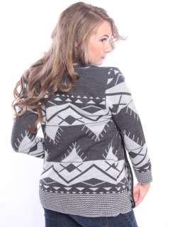 New Womens Knitted AZTEC PATTERN CARDIGAN Knitwear Top Dress Size S/M