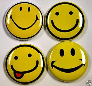 SMILEY HAPPY FACE Novelty Buttons Pins Badges 1 inch