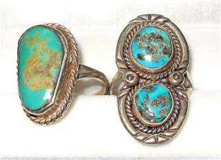 NAVAJO INDIAN STERLING SILVER & TURQUOISE RING X 2