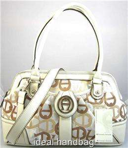 NEW NWT ETIENNE AIGNER STATUS QUO BROWN WHITE SIGNATURE BAG SATCHEL