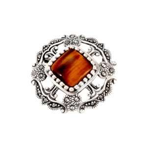 Sterling Silver Marcasite Open Work Tigers Eye Pin Jewelry
