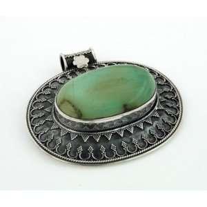 Sterling Silver Genuine Light Green Oval Antiqued Flower Bail Drop