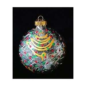 Christmas Trees Design   Hand Painted   Heavy Glass Ornament   3.25
