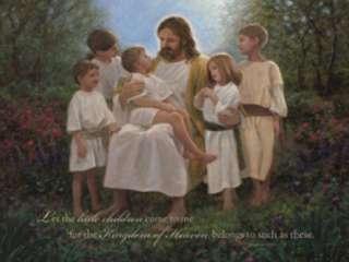 Little Children Jesus Jon McNaughton Framed Picture