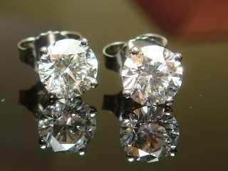 13 CARAT ROUND DIAMOND STUDS WHITE GOLD STUD EARRINGS 14K