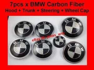 pcs BMW Carbon Fiber Hood Trunk Steering Emblem Wheel Center Cap
