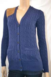 Ralph Lauren NAVY BLUE CABLE KNIT SUEDE CARDIGAN SWEATER NWT M