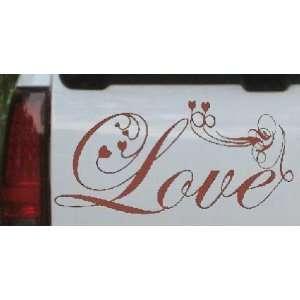 Brown 8in X 16.5in    Love Swirl With Hearts Christian Car Window Wall