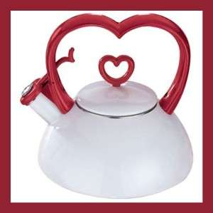 Magnet Tea Kettle White Red Heart Shaped Handle Kitchen
