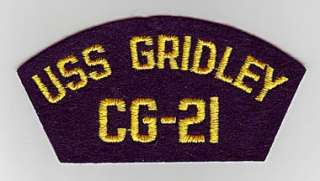 USS GRIDLEY CG 21   U.S. NAVY CAP PATCH
