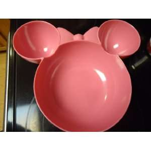 Disney Minnie Mouse Head Shape Large Chip & Dip Bowl   Pink Melamine