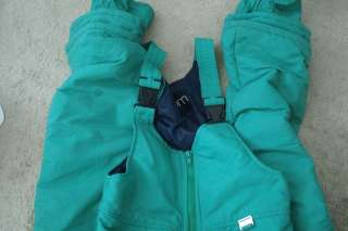 SLALOM GREEN SKI PANTS SNOW PANTS Youth L Bibbed EUC Unisex